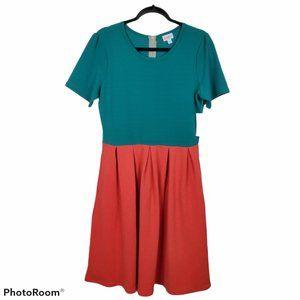 NWT LulaRoe Amelia Turquoise Coral Fit Flare Dress